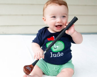 Baby Golf Shirt - Baby Shower Gift for Golfer - Masters Baby Outfit - Green Gingham Shorts - Boys Applique Golfing Outfit