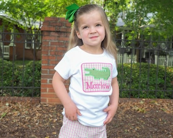 Personalized Alligator Applique Girls Fit Shirt and Matching Pink Green Gingham Ruffled Shorts
