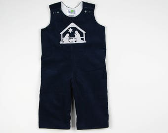 8361702b11d2 Nativity Longall for Boys - Navy Christmas Jon Jon - Little Boy Rompers -  Corduroy Toddler Boy Overalls - Navy Manger Scene Embroidery Baby