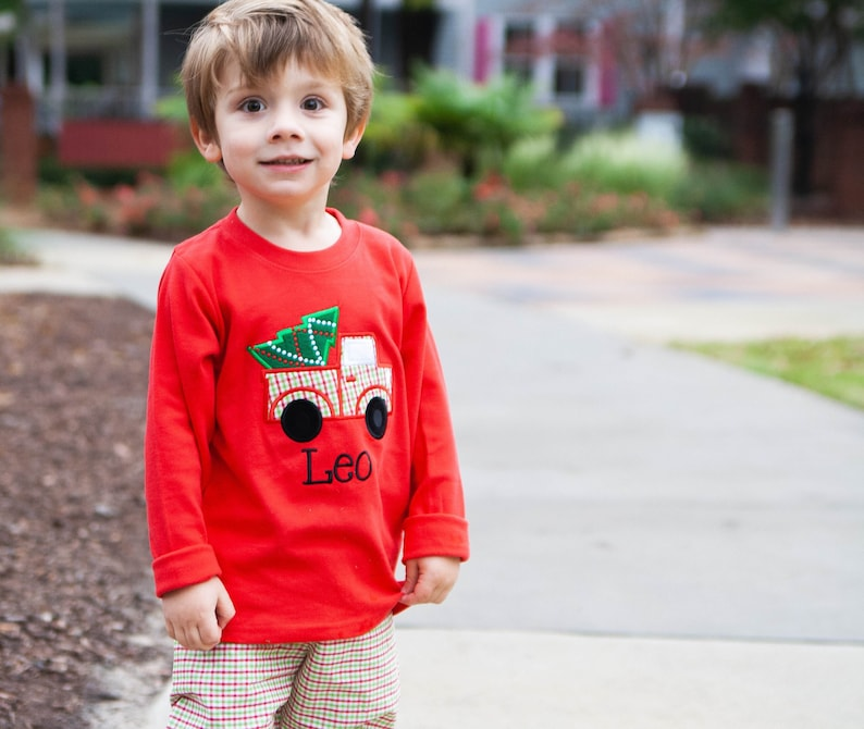 6ec4725af3fe Christmas Tree Truck Shirt Toddler Boys Red Holiday Applique | Etsy
