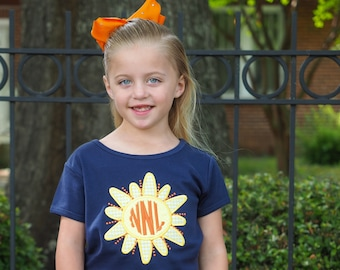 Toddler Girl Sunshine Applique Tee - Navy Girls Fit Personalized shirt with Yellow Gingham Shorts Set