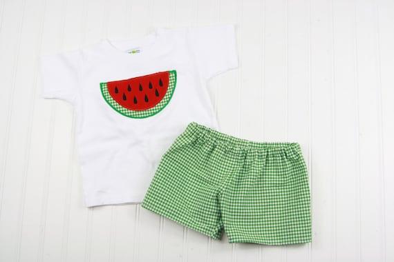 Short Vichy pour les garçons - short d'été enfant garçon tenues - garçons pastèque chemise - Boy Shorts Outfit - pastèque Applique chemise - vert