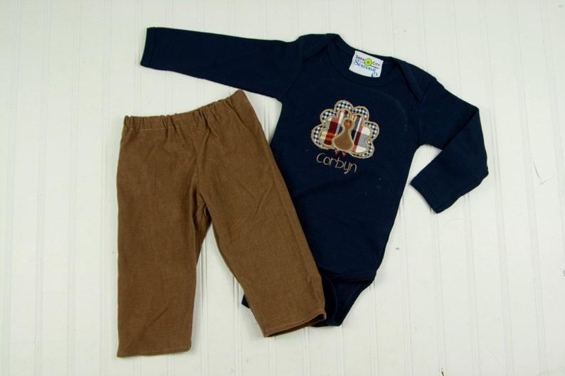 0b83854cd Boys Turkey Shirt Corduroy Pants Baby Boys Navy | Etsy