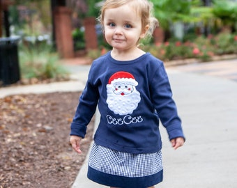 Girls Christmas Outfit - Santa Applique Shirt & Navy Gingham Skirt - Toddler Girl Holiday Clothes - Baby Girl Personalized Christmas Tee