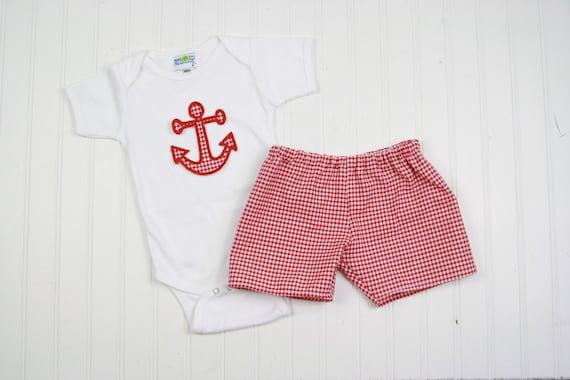 84e078d47 Summer Baby Boy Outfit Anchor Shirt Nautical Nursery   Etsy