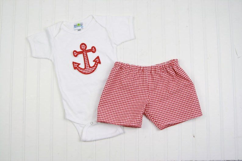 91e90c6a5 Summer Baby Boy Outfit Anchor Shirt Nautical Nursery | Etsy
