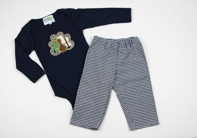 fb411e5fc3bb Thanksgiving Outfit for Boys Navy Gingham Pants Fall Boys | Etsy