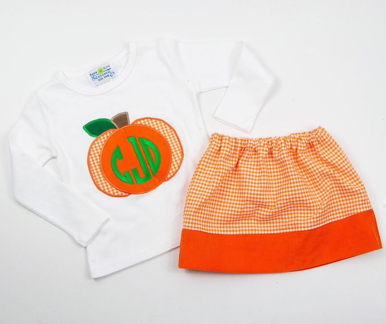 Monogrammed Fall Outfit for Toddlers Orange Gingham Skirt Set Little Girls Skirt /& Personalized Tee Girls Embroidered Pumpkin Shirt