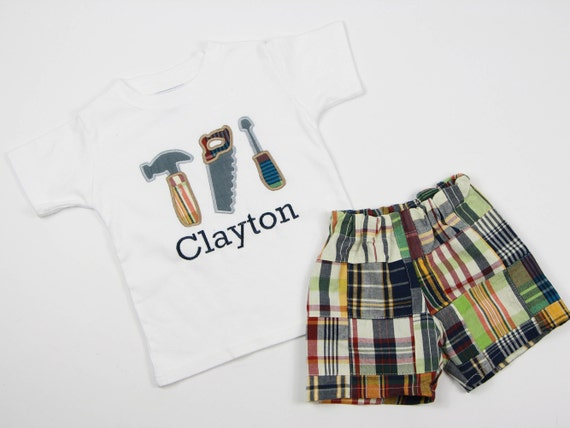 Monogrammed Toddler Boy Clothes - Boys Construction Outfit - Toddler Boy Tools T-Shirt - Madras Plaid Shorts Set - Preppy Toddler Clothes