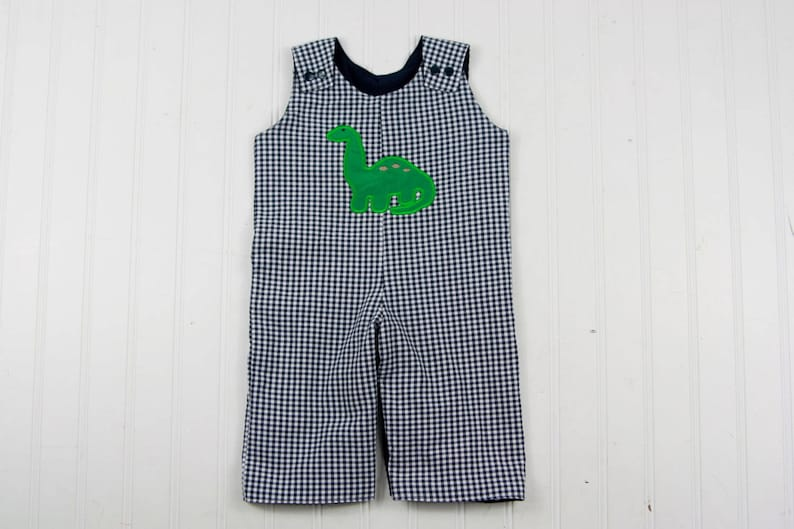 05c0179061e5 Dinosaur Overalls for Boy Boys Navy Gingham Romper