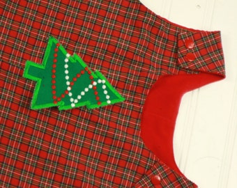 Christmas Tree Longall - Boys Christmas Outfit - Red Tartan Plaid Overalls - Christmas Outfit for Boys - Boys First Christmas Clothes