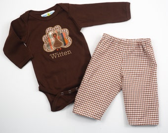 Toddler Thanksgiving Shirt - Boys Turkey Outfit - Toddler Thanksgiving Clothes - Turkey T-Shirt - Fall Gingham Pants Outfit - Turkey Shirt
