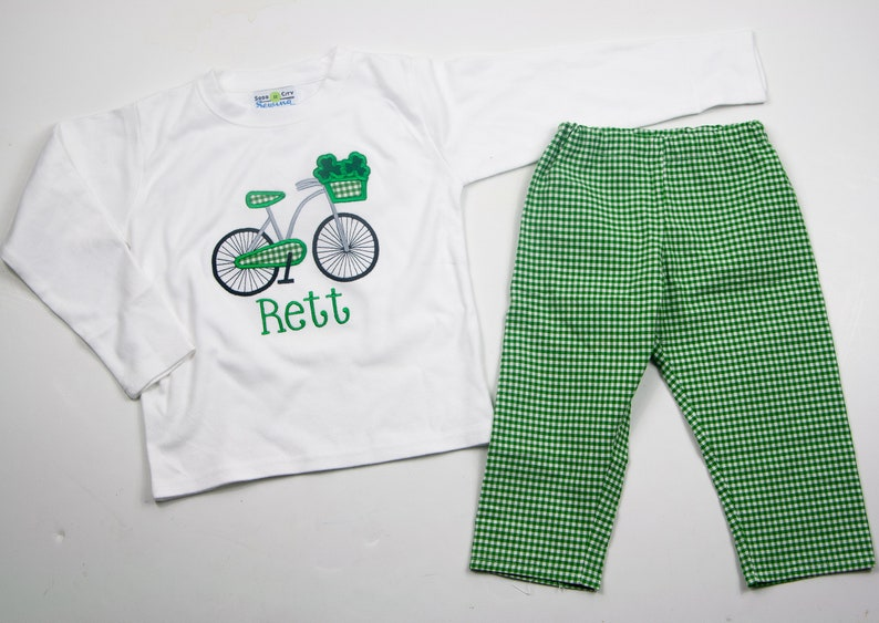 2e1445dce Little Boys St Patricks Day Outfit Embroidered Bicycle Shirt | Etsy