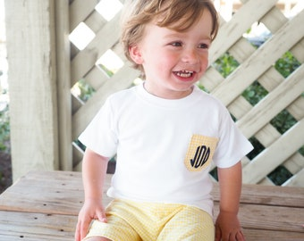Personalized Initial Pocket Tee Shirt - Monogrammed Preppy Toddler Boy Clothes - Red Gingham Shorts Top Outfit Set - Baby Boy Shower Gift