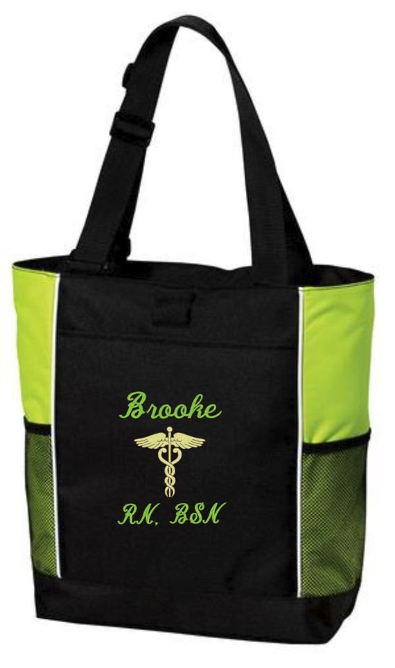 SM-B0750 Personalized RN Nurse Tote Bag Embroidered Monogrammed RN Nurse Tote Bag Custom Nurse Bsn Lpn Tote Bag
