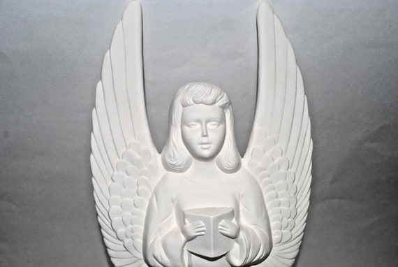 "Large Angel ready to paint 13/"" ceramic bisque"