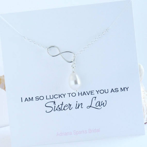 Wedding Gift Ideas For Sister In Law: Sister In Law Wedding Gift From Bride Pearl Infinity Lariat