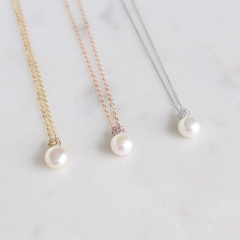 Bridesmaid Gift Gold Pearl Necklace Earring Wedding Jewelry Bridal Party Maid oh Honor Proposal Gift