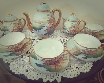 Nippon From Japan Antique Porcelain Hand Painted 11 PC Tea Set