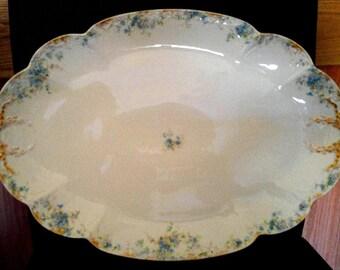 """H W Gold Ribbons 20"""" Porcelain Platter"""