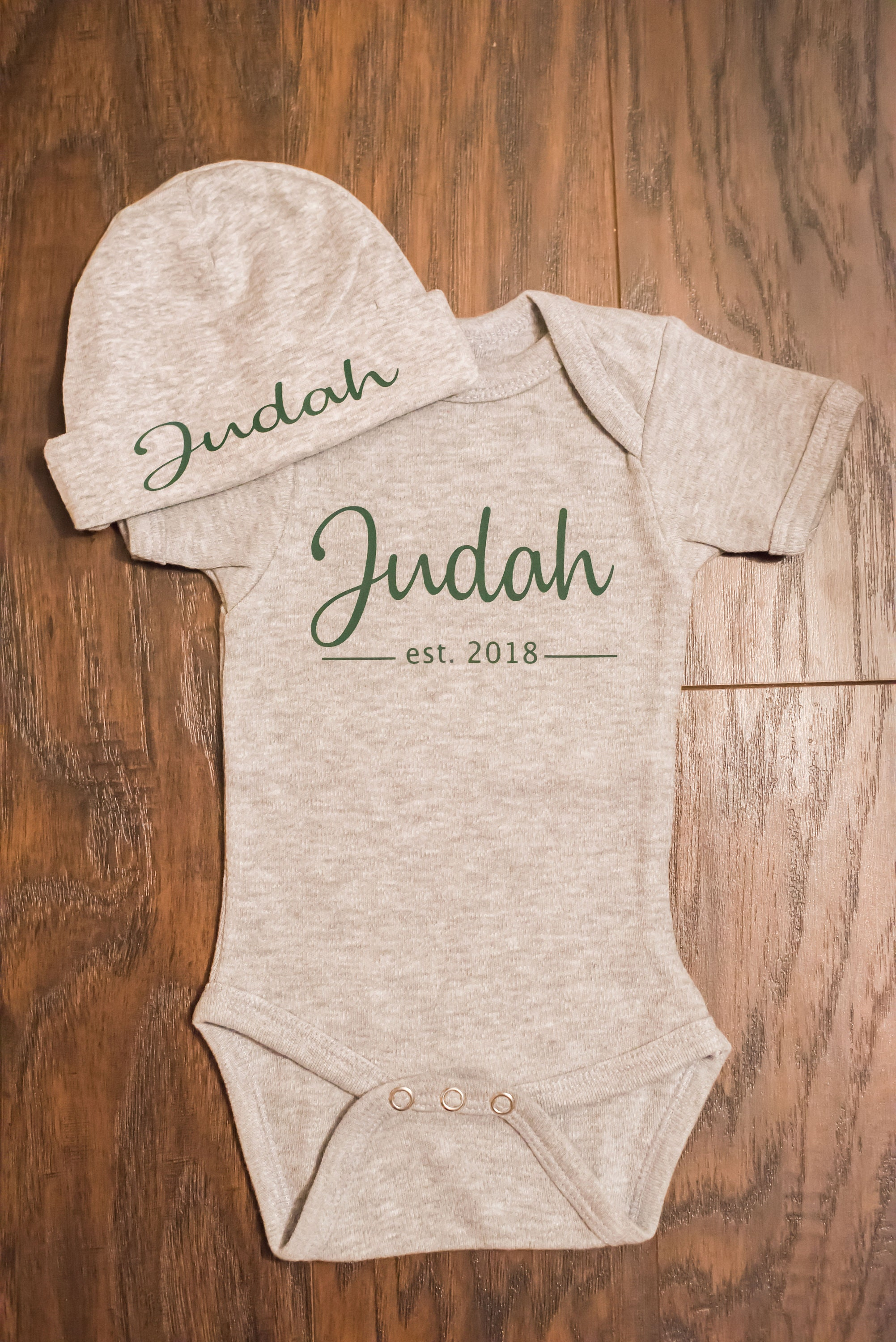 Personalized Baby Onesie and Matching Hat Coming Home Outfit c83b8d8f470b