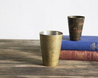 Vintage Lassi Cups - Pair of Vintage Etched Brass Lassi Cups - Vases, Pots, Tealight Holders - Boho Decor