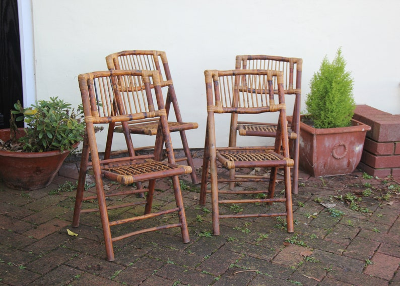 Chaises Chaise Pliante Vintage Ecaille De Tortue En Bambou