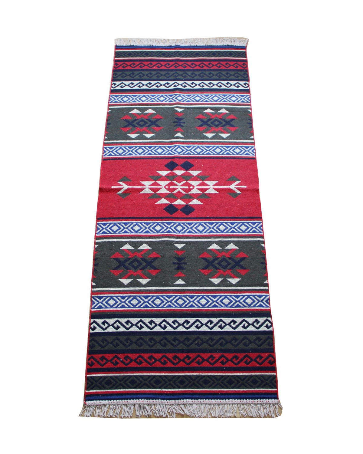 Kilim Runner Rug Reversible Colourful Turkish Kilim Runner