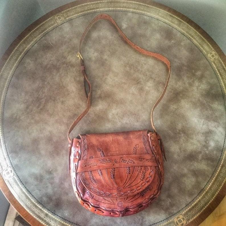Hippie Bag Tooled Leather Cross Body Bag Acorn Mushroom Flower image 0