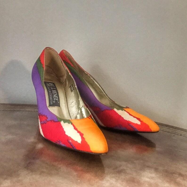 New Wave Pumps 6.5 Vintage 1980s Multicolor Punk Heels by J image 0