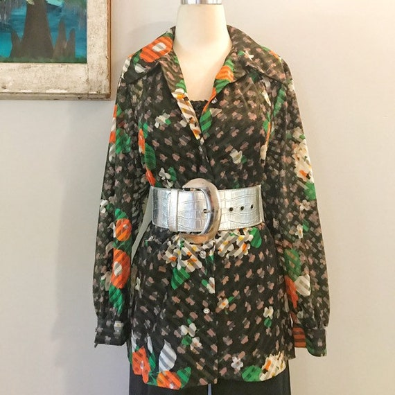 Shear Black Floral 1970s Blouse by Amy Adams Rhine