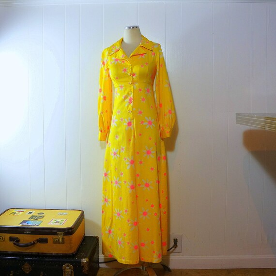 1960s Maxi Dress • Bright Yellow Floral • Neon Pin