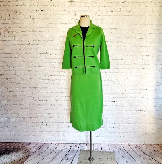 Mod Skirt Suit • 1960s • Bright Green / Navy Blue