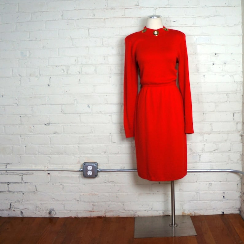 St John Knit Dress 1980s Vintage Red Sweater Dress MEDIUM Long image 0