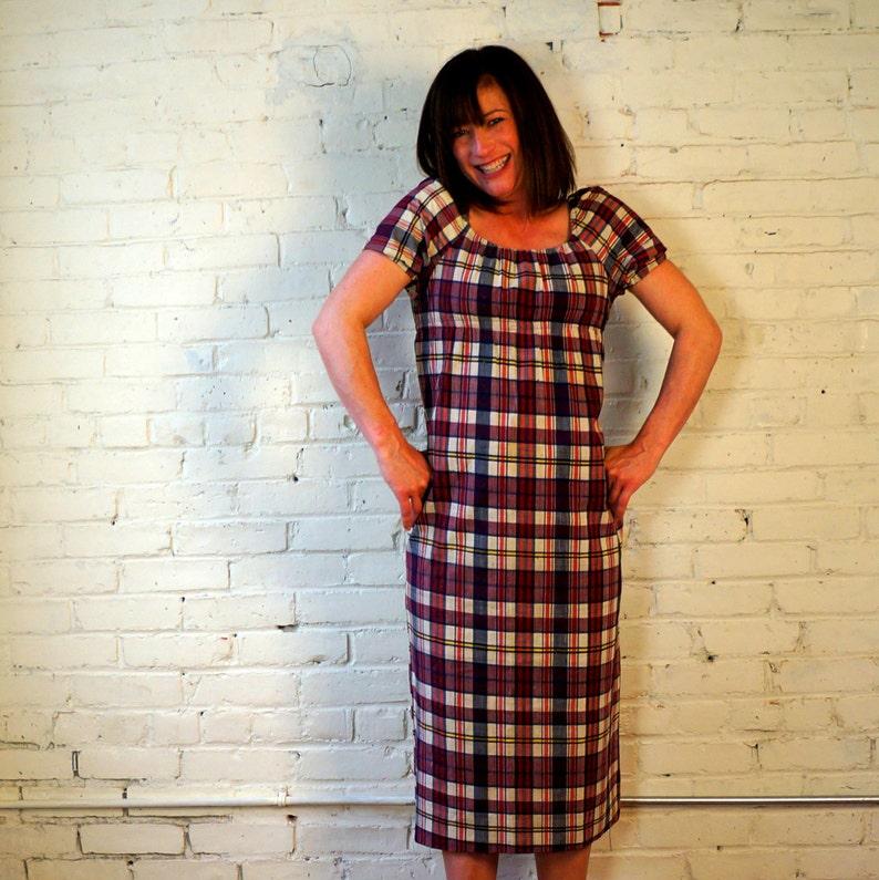 Summer Prep Dress 1960s Vintage Dress Cotton Plaid Straight image 0