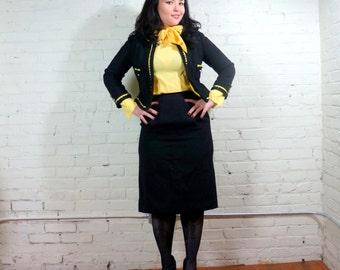 Vintage Oleg Cassini Skirt Suit Black Yellow Secretary 2 Piece MEDIUM Bolero Jacket Retro 60s Wear to Work Set Young American Jackie O
