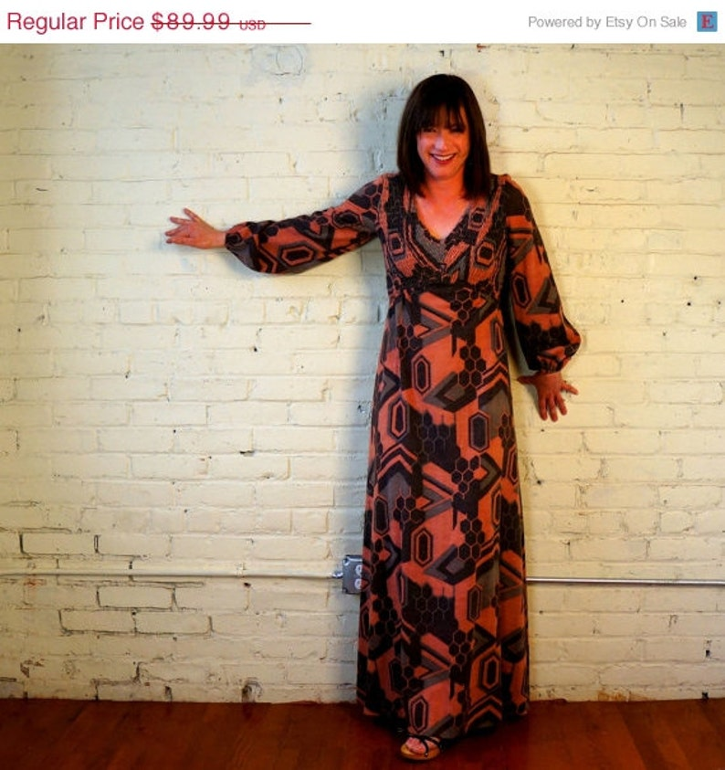 1970s Vintage Maxi Dress Long Sleeves SMALL MED 70s Earthy image 0