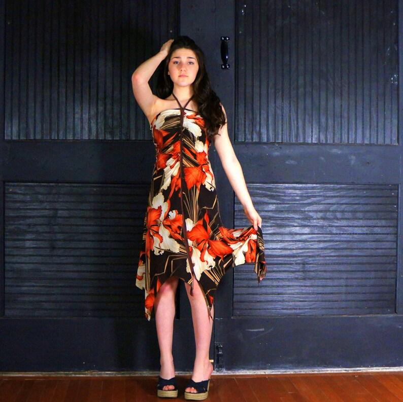 Bandeau Halter Dress Handkerchief Hem SMALL Tropical Sundress image 0