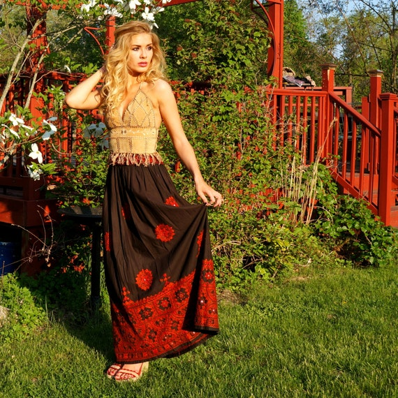 Vintage Indian Skirt • Adini • Bohemian Ethnic Max