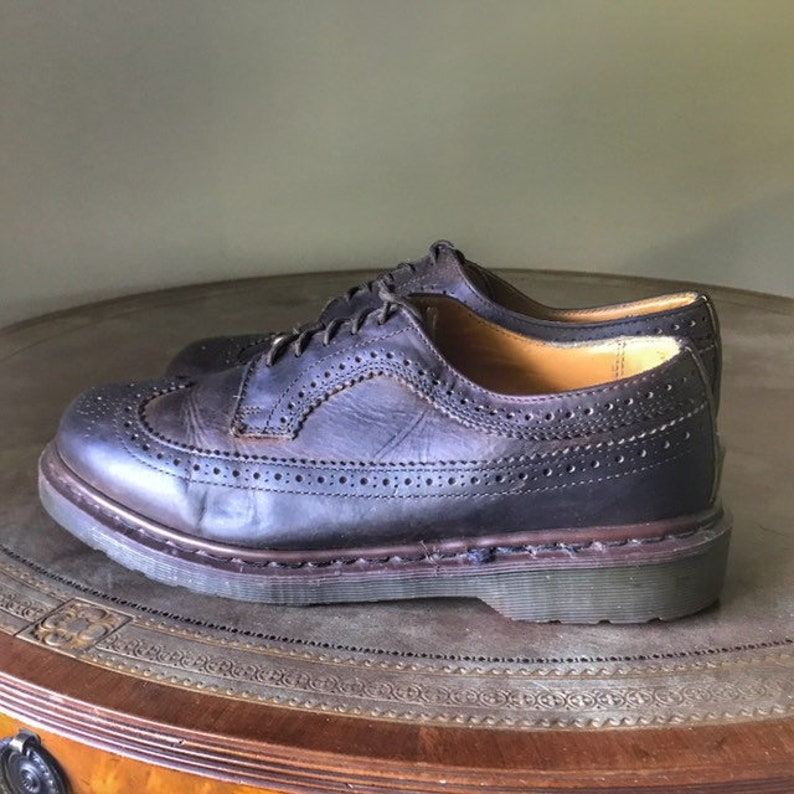 Dr Martens Brogues 10 UK Brown Greasy Leather Shoes 1980s image 0