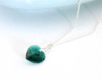 Emerald Heart Necklace - Swarosvki crystal birthstone for May