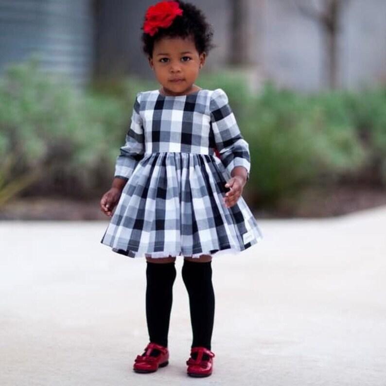 c30371853f42 Black buffalo plaid dress with red sash black ans white | Etsy