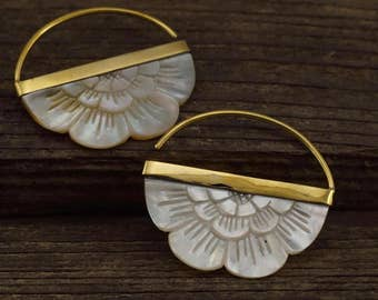 Mother of Pearl Earrings -  Flower hoops with gold-tone bezel - for all standard piercings -  small rising sun (162B)