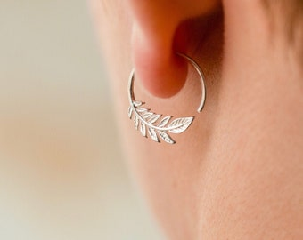 Tiny Leaf Hoop Earrings - Solid Sterling Silver - Nature Jewelry - Olive Leaf Sleeper - (232S)