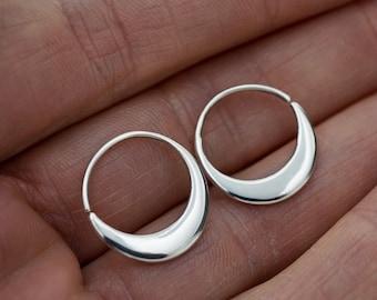 Crescent Moon Hoops 18mm - Solid Sterling Silver Earrings - Sleeper Hoops (S260)
