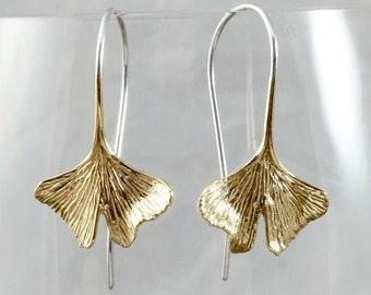 Leaf Earrings - Ginko Leaf Earrings - dangle earrings - brass and sterling (142B)