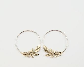 Leaf Hoop Earrings - Nature Jewelry - Olive Leaf Earrings - Brass w/ solid sterling hoop (134B)