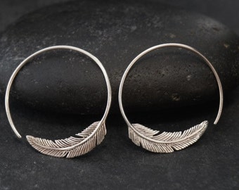 Small Silver Feather Hoop Earrings - Solid Sterling Silver - Gift For Her (S96)