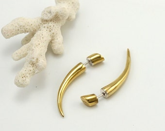 Fake Gauges -  Tribal Talon Earrings - Gold Tone Spike - Claw Jewelry - Men's Unisex Earrings  (B65)