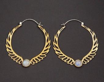 Feather Moonstone Hoop Earrings - Rainbow moonstone - Birthstone earrings - ornate hoops - celestial hoop -  Aurora